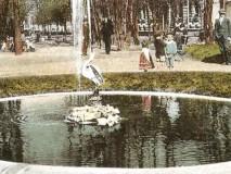 Palackého sady - vodotrysk s čápem, kol. r. 1910